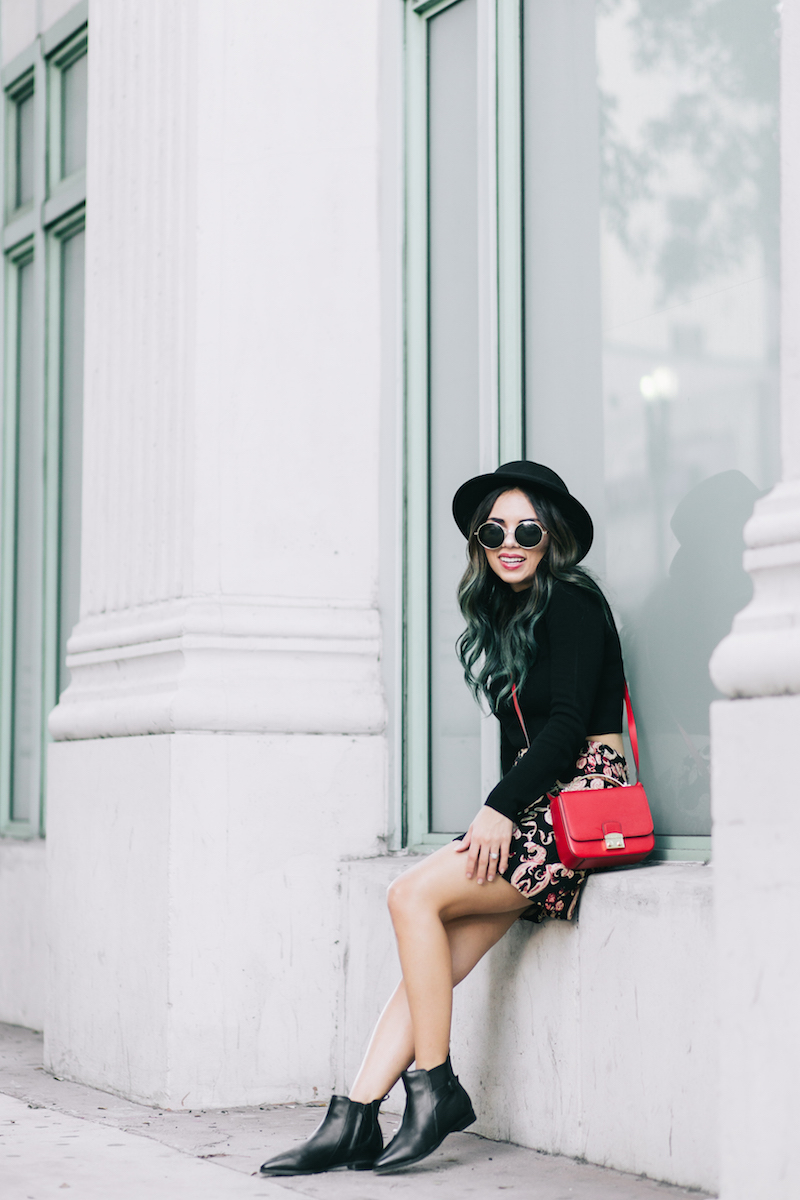forever 21, fashion, style, embroidered skirt, henri bendel, pop of red, red bag, black hat, round sunglasses, miami fashion blogger, miami winter, black turtleneck, pointy boots, clark usa, nouvel heritage