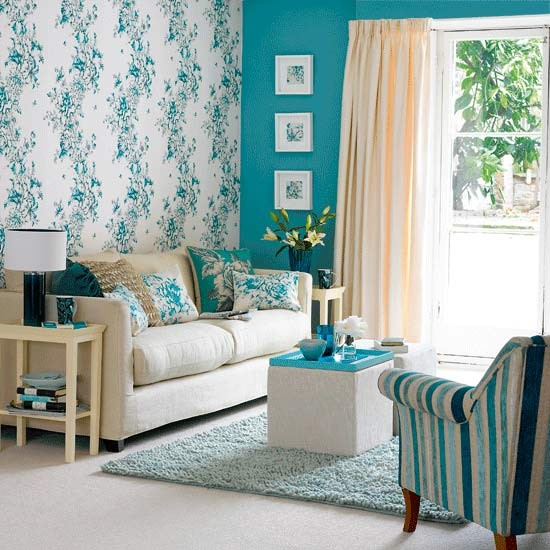Cream And Blue Living Room : ... Multi-faceted walls covered in floral wallpaper and bright blue paint