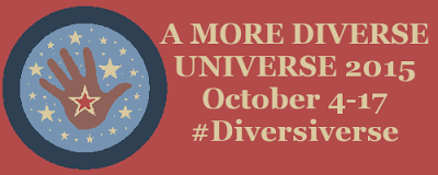 Banner reading A More Diverse Universe 2015, October 4-7, #Diversiverse. The background is a muted red. An icon of a brown hand with a star on the palm appears to the left of the text.