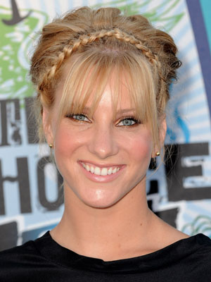 Heather Morris puts a funky twist on an updo with a braided headband and wispy bangs