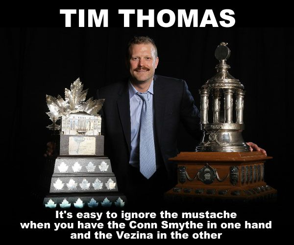 Masshole Sports Photo Tim Thomas Holding 2 Trophies That Roberto