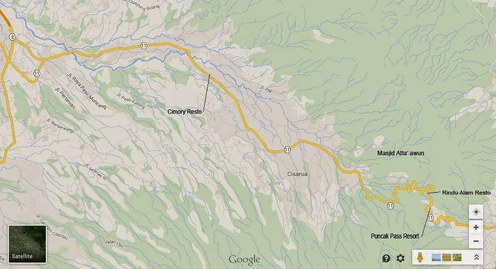 peta map jalan raya puncak