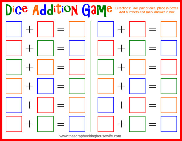 free printable dice games for kids
