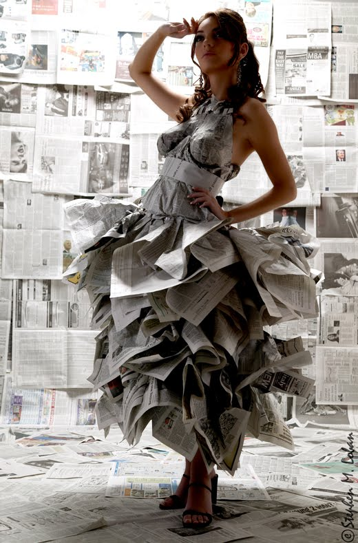 newspaper dresses and how to make folds
