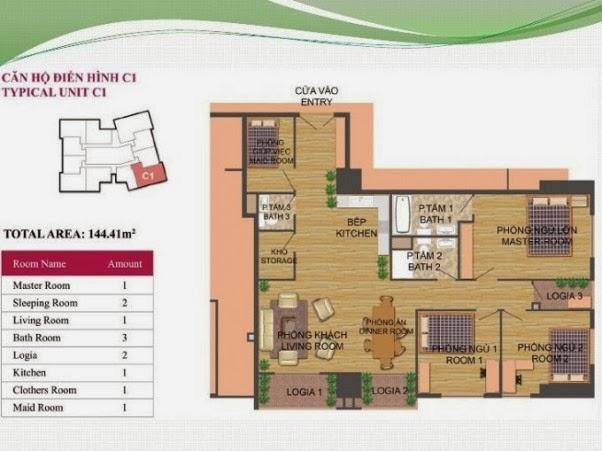 căn hộ C1 ( 144,41m2 ) chung cư Hà Đô Park View Dịch Vọng