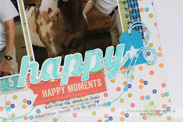 Happy Moments Scrapbook Page by Juliana Michaels featuring Jillibean Soup Yellow Pepper Saffron,Happy Hues Paints and Stencils