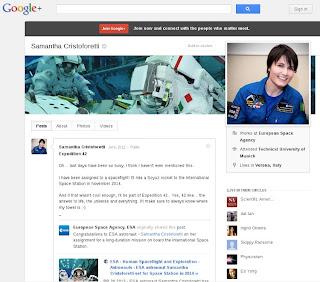 Il profilo Google+ di Samantha Cristoforetti