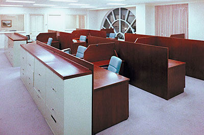 office desks in building