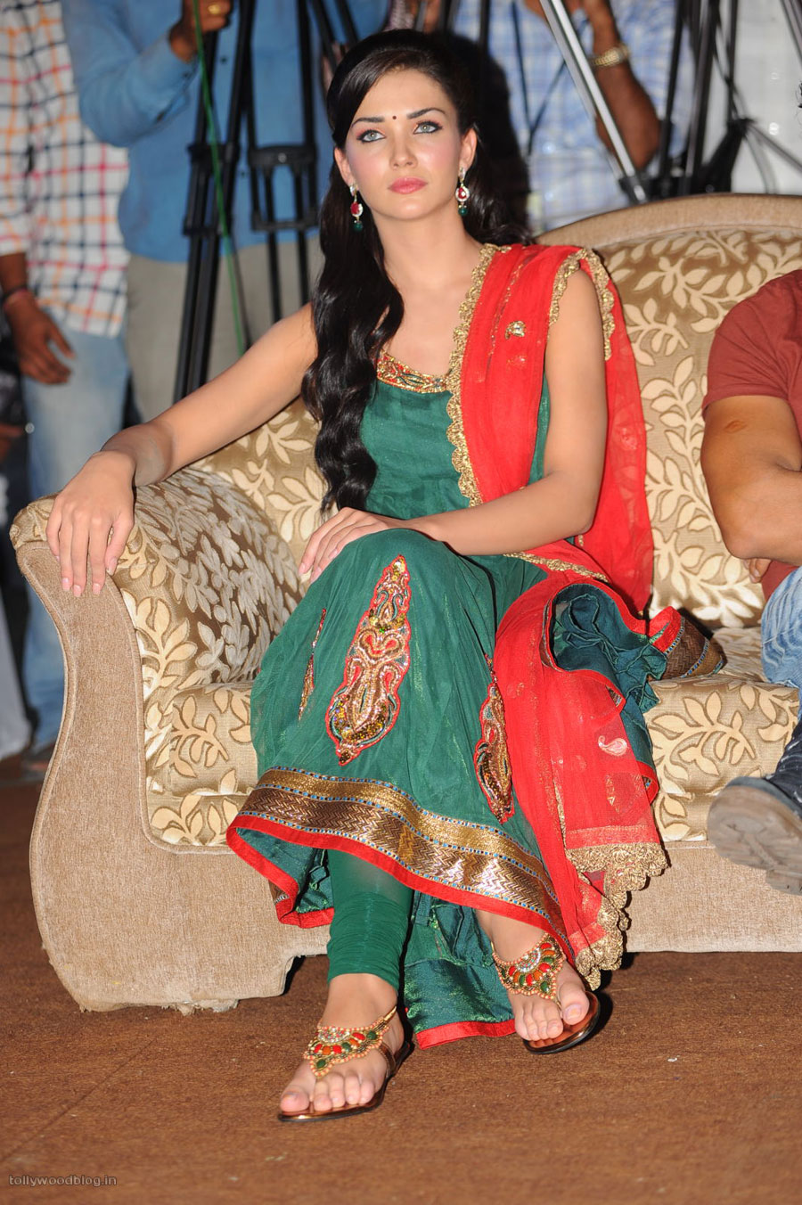 Amy Jackson in Green Salwar Kameez at Siva Thandavam Audio ...