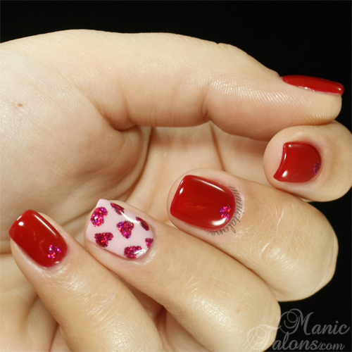 Valentineu0027s Day Nails With Pink Gellac And ArtsyFartsy Crafts Glitter Hearts