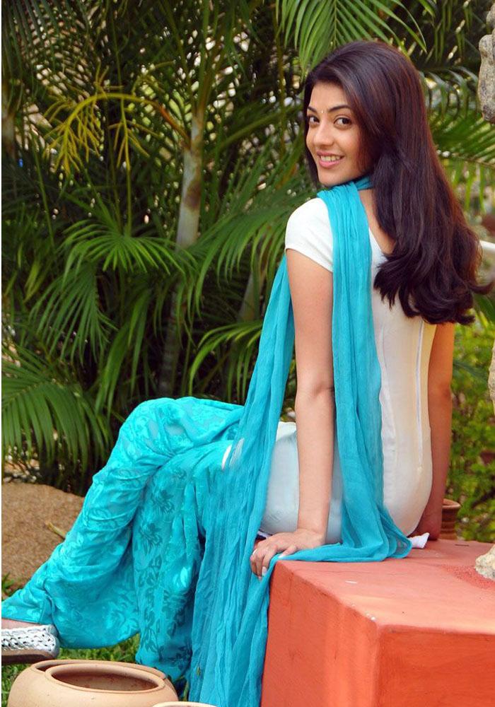 Kajal Agarwal Stills In White Punjabi Dress
