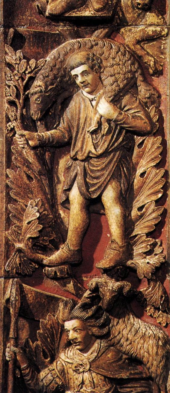 13th century bas-relief of the month of April, Central door, Basilica San Marco, Venice