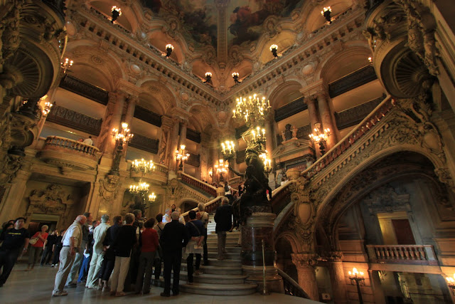The Grand Staircase of Le Palais Garnier Opera House in Paris, France