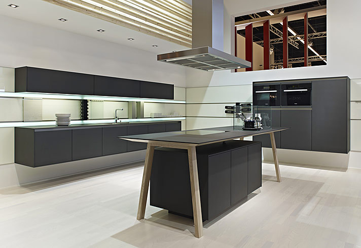 German Handless Kitchen Ideas From KDCUK Kitchen Interior Design - Dark grey matt kitchen
