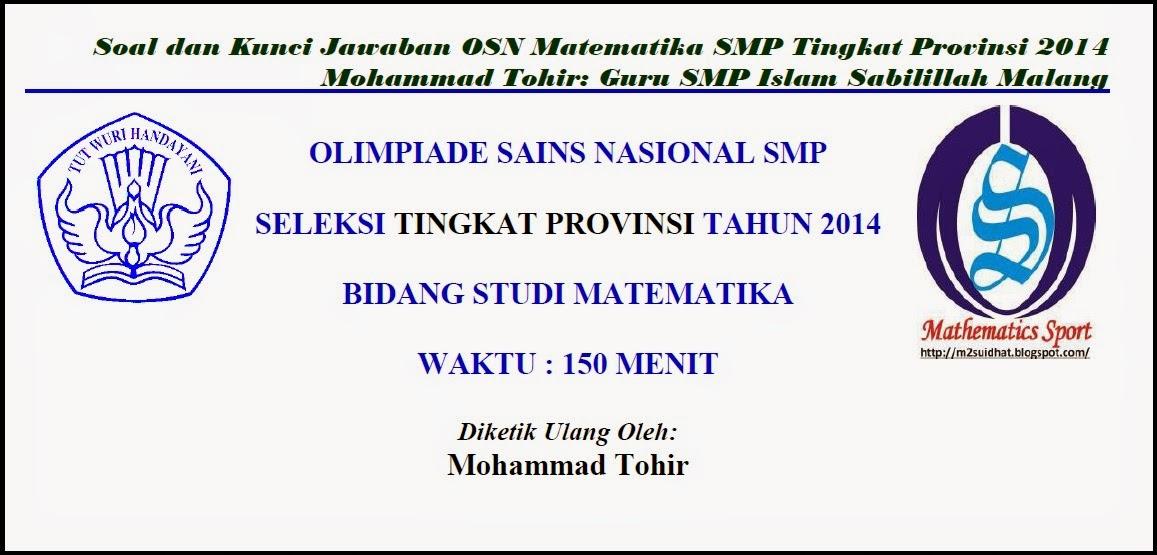 Pembahasan Osn Matematika Smp 2014 Tingkat Provinsi