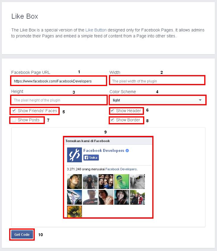 cara pasang plugins sosial like box