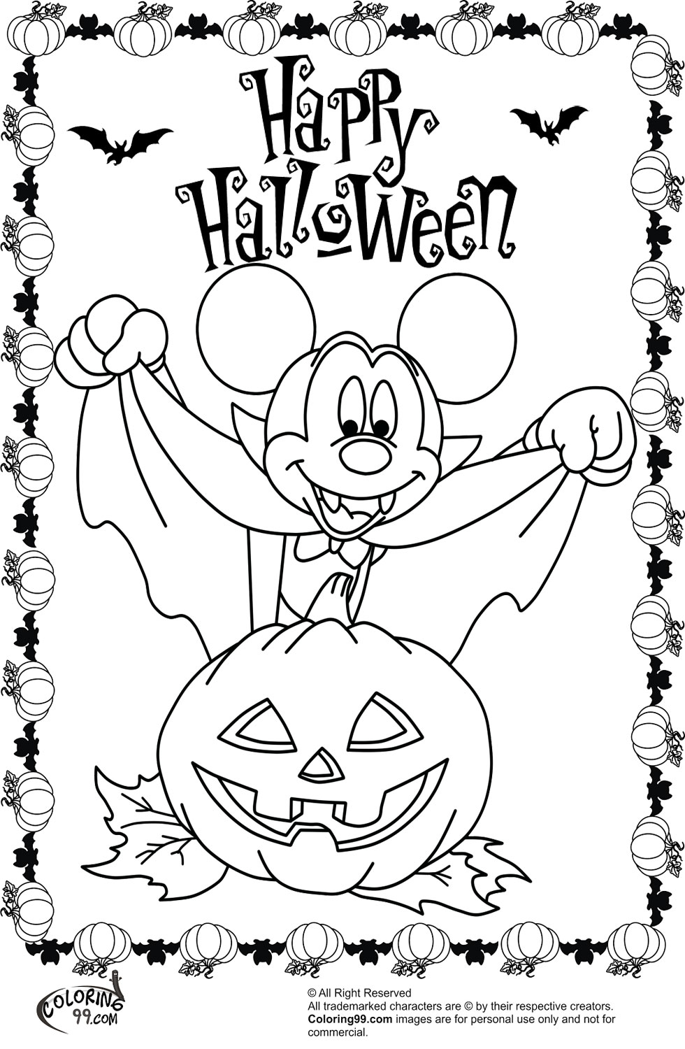 Minnie and Mickey Mouse Coloring Pages for Halloween