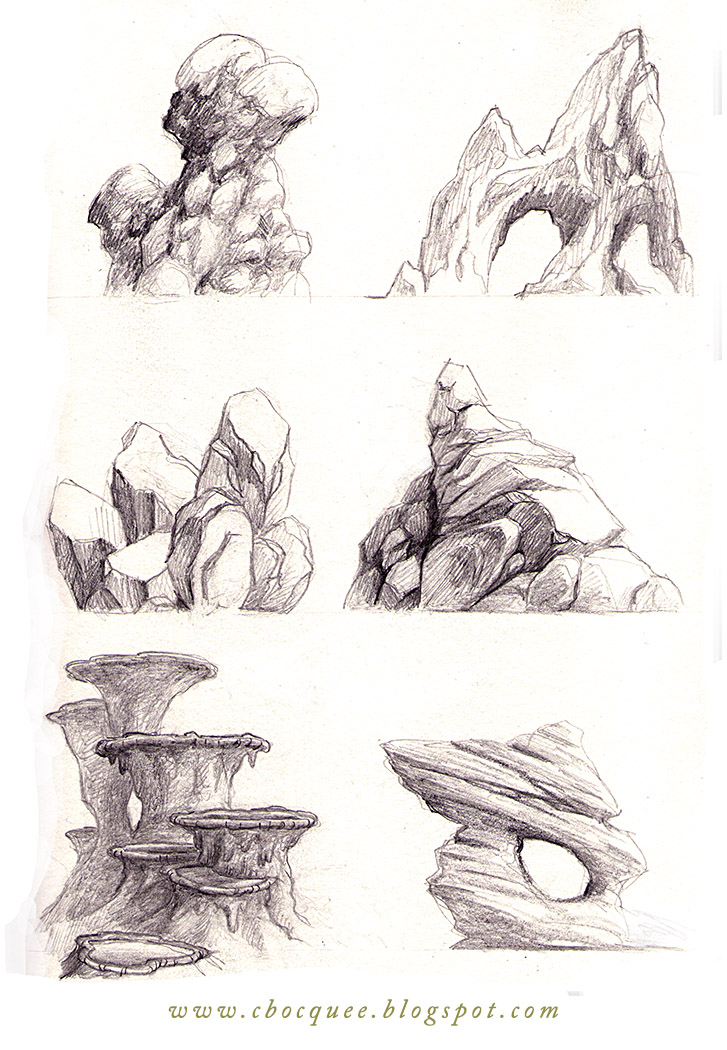 rock formation concept art drawn with pencil