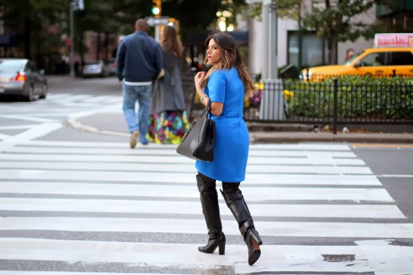 blue dress; black boots; fall fashion; street style; nyc fashion blogger; nyc blogger; hm; fendi 2jour; tibi dress; NYC; how to wear over the knee boots