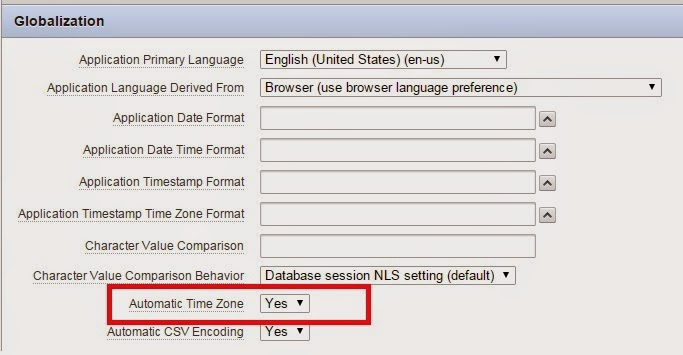 Oracle session timezone setting