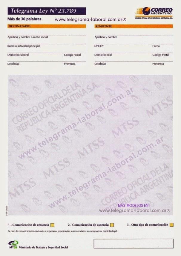 Modelos de telegramas de extinci n de relaci n laboral for Contrato para empleada domestica