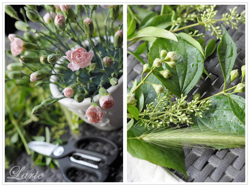 kompozycja kwiatowa, kwiaty, goździki, bukiet kwiatów, gąbka florystycza, kwiaty cięte