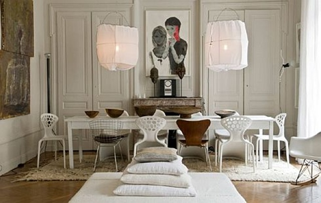 The Owners Of This Elegant French Apartment Must Love Entertaining. Their  Table For Ten Fits The Modern Space Beautifully. The Light Fixtures Mimic