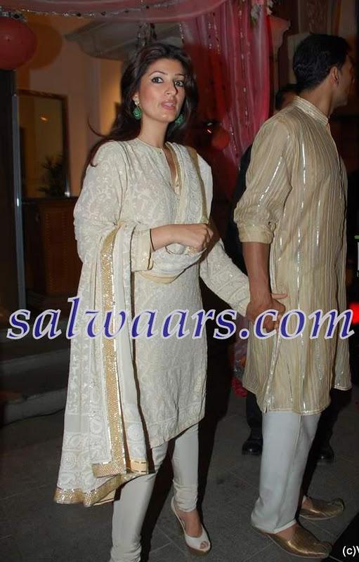 Twinkle Khanna in White Salwar Kameez - Indian Dresses