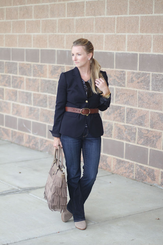 jcrew blazer, AG jeans, Tory Burch bag, Dolce Vita booties