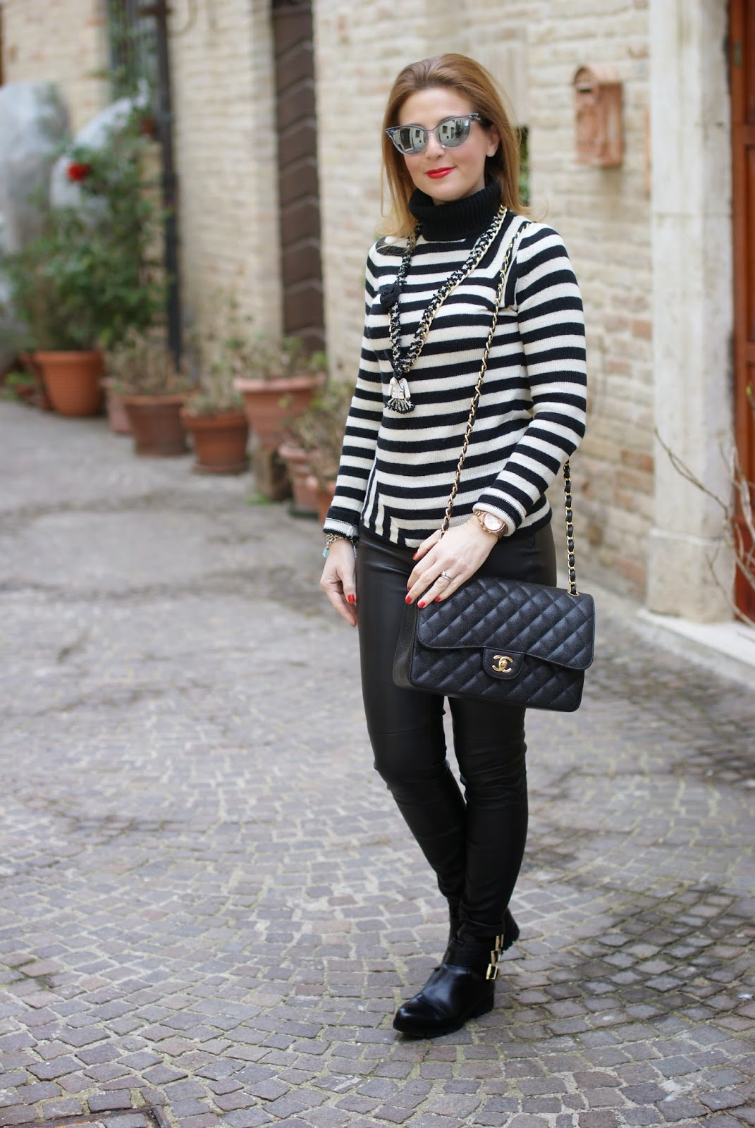 Chanel style, leather pants, Chanel 2.55 bag, striped turtleneck, Fashion and Cookies, fashion blogger, fashion blog