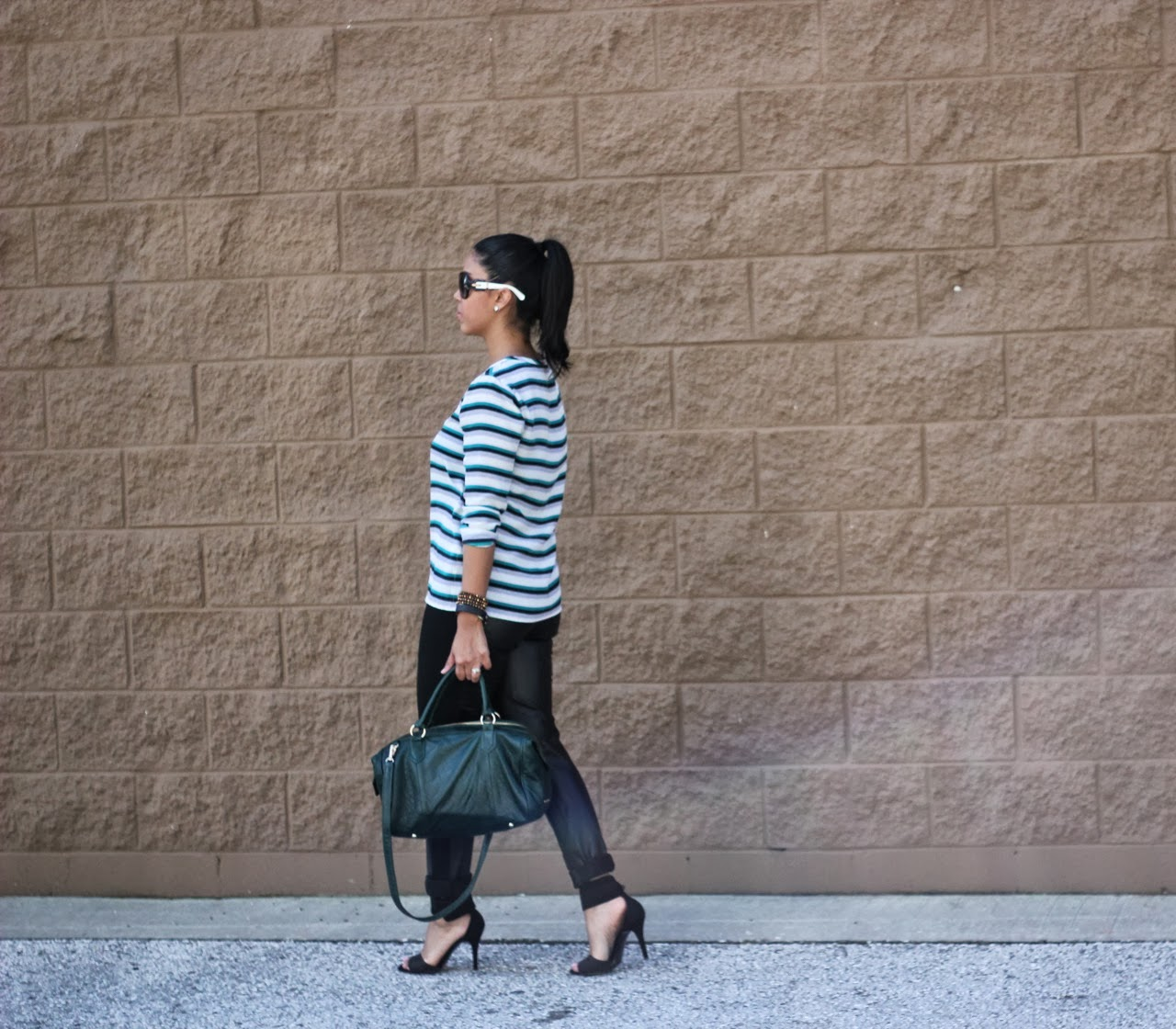 Equipment stripe top with BB Dakota leather pants and steve madden shoes Lauren Merkin bag