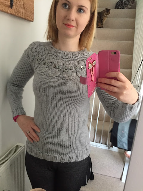Knitting, handmade, owls jumper