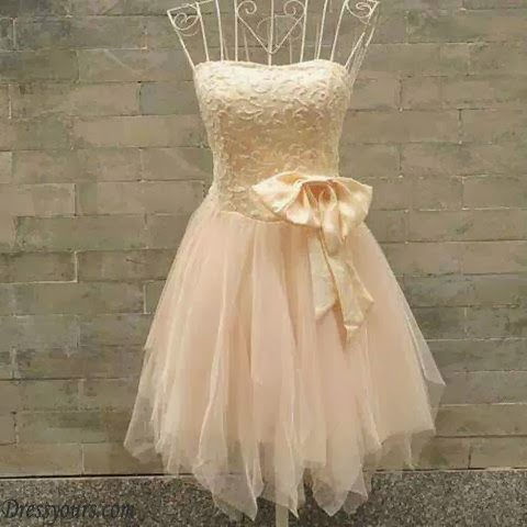 Korean Style Cute Strapless Pure Color Knotbows Short Women Dress