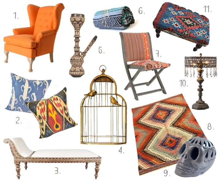 ethnic design, ethnic patterns, ikat cushions, Anthropologie chair, skull decor, hand painted hookah, Birdcage Mirror, Mydeco.com, Moroccan day bed, kilim rug on Etsy, handmade, artisanal, global bohemian, nomad chic