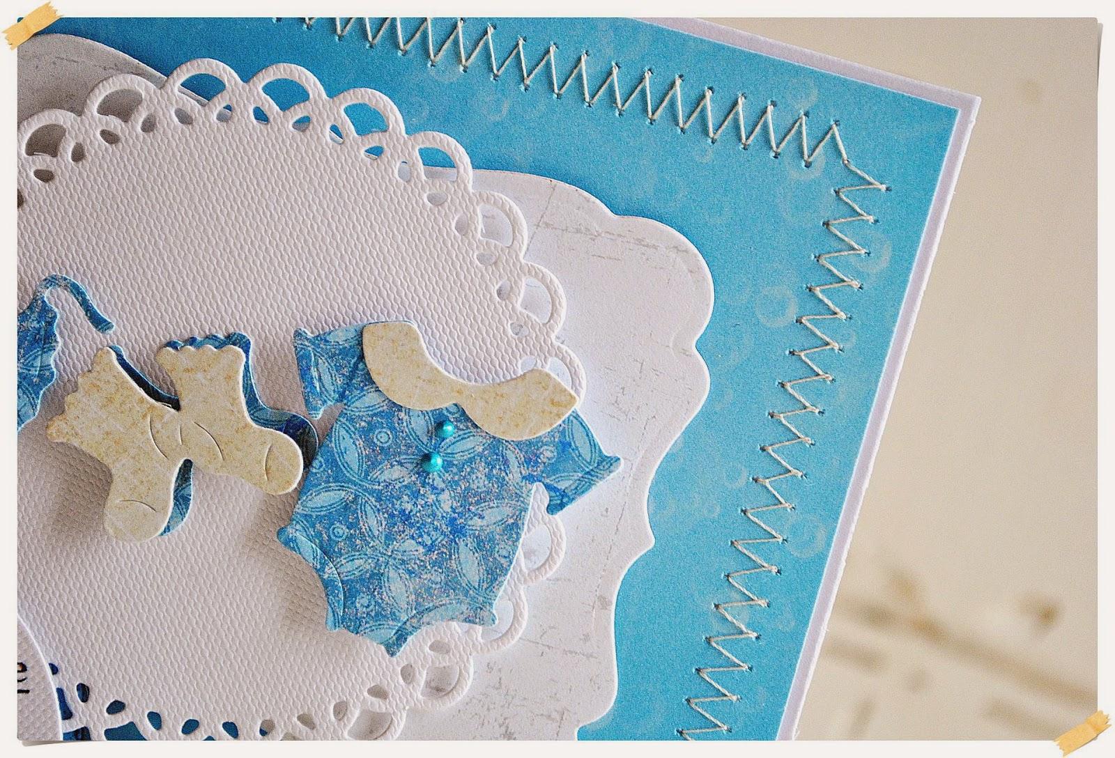 Kartka gratulacyjna z okazji narodzin synka scrapbooking