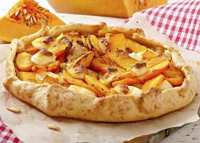 Galette de calabaza, puerro y queso feta, receta paso a paso