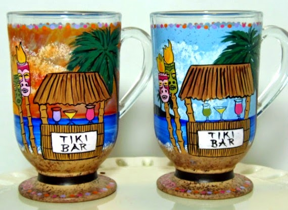 Custom Hawaiian Tiki Bar painted coffee mugs via Kudos Kitchen By Renee