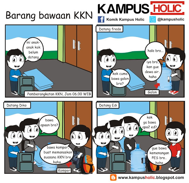 #191 Barang bawaan KKN mahasiswa komik kampus holic Kuliah Kerja Nyata