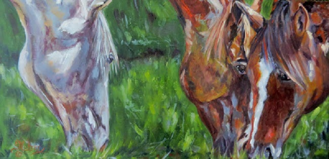 """Can't We Ever Be Alone?"" three horses  in oils on canvas"