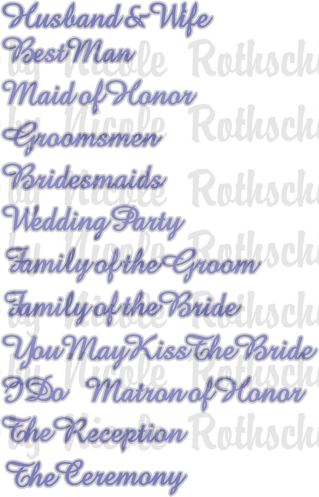 Crafts By Nicole Wedding Titles