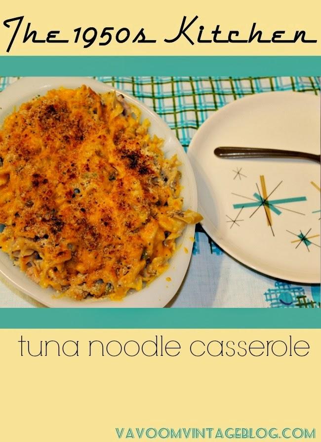 1950s kitchen tuna noodle casserole recipe with northstar china via va voom vintage