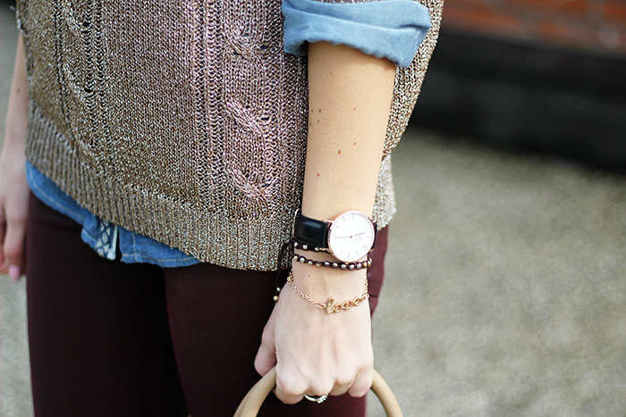 metallic sweater, burgundy pants, micheal kors selma bag, zara boots, outfit