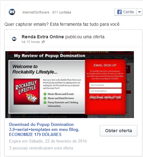 oferta criada no facebook