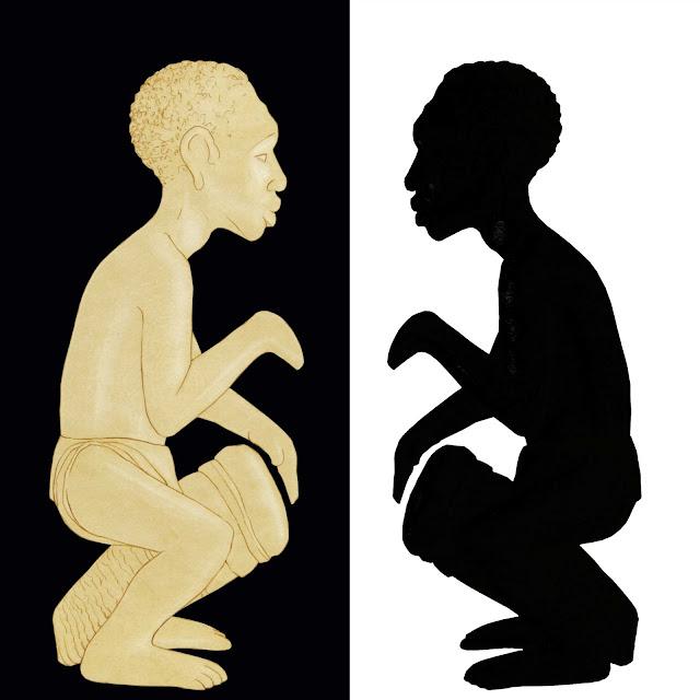 Congo, figura de marfil ,negro tocando el tambor, dibujo
