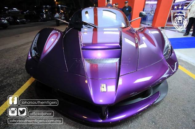 TMJ's New Hybrid Purple Ferrari Causes A Stir At Johor Stadium
