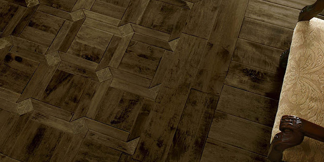 Unique pattern of wood flooring (close-up)