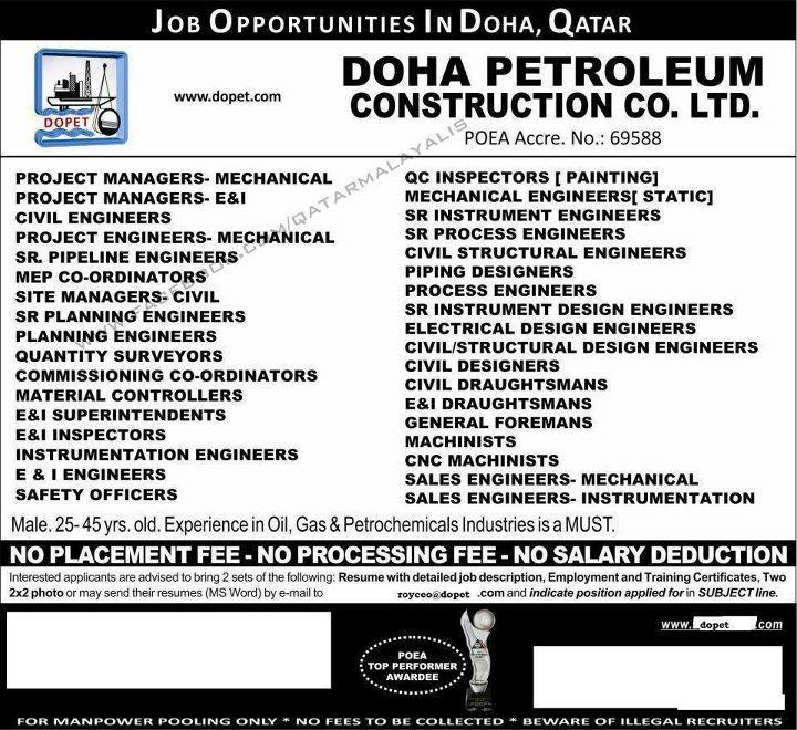 Doha Petroleum Construction Co Ltd Direct Recruitment  Gulf