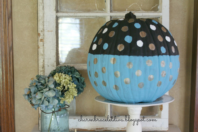 painted polka dot fuax pumpkin