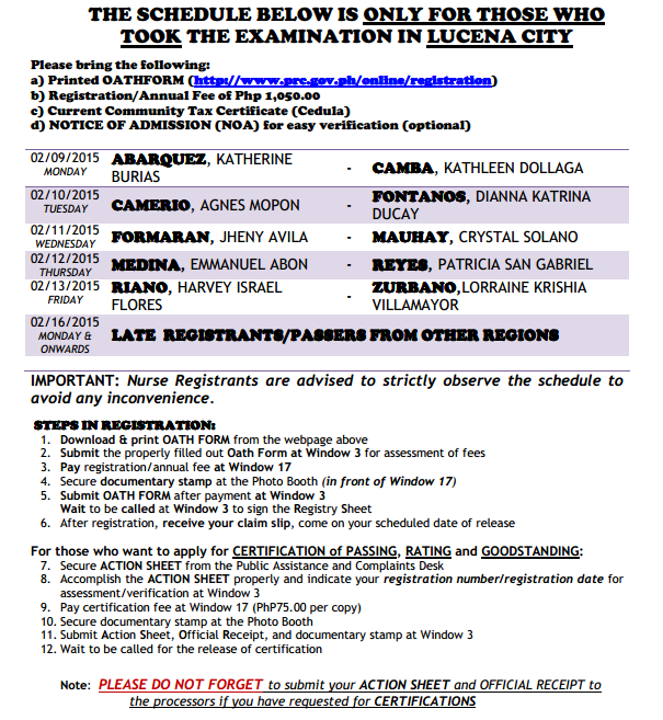 PRC Lucena NLE November 2014 registration