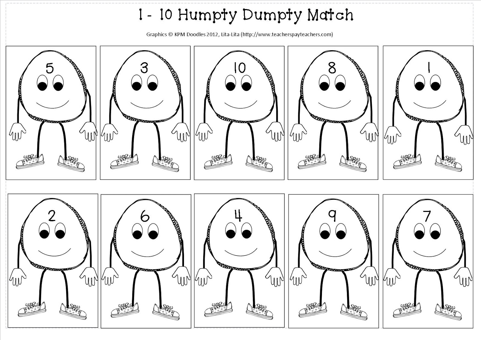 At Nursery Rhymes One Of Those Is Humpty Dumpty I Thought D Quickly Share A 1 10 Maths Activity That We Ll Be Doing You Can It Here